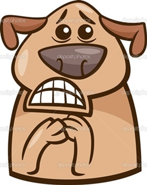 Cartoon Illustration of Funny Dog Expressing Terrified Mood or Emotion